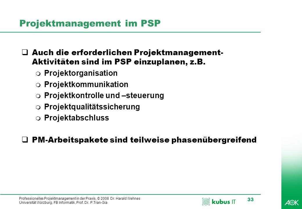 Projektmanagement im PSP