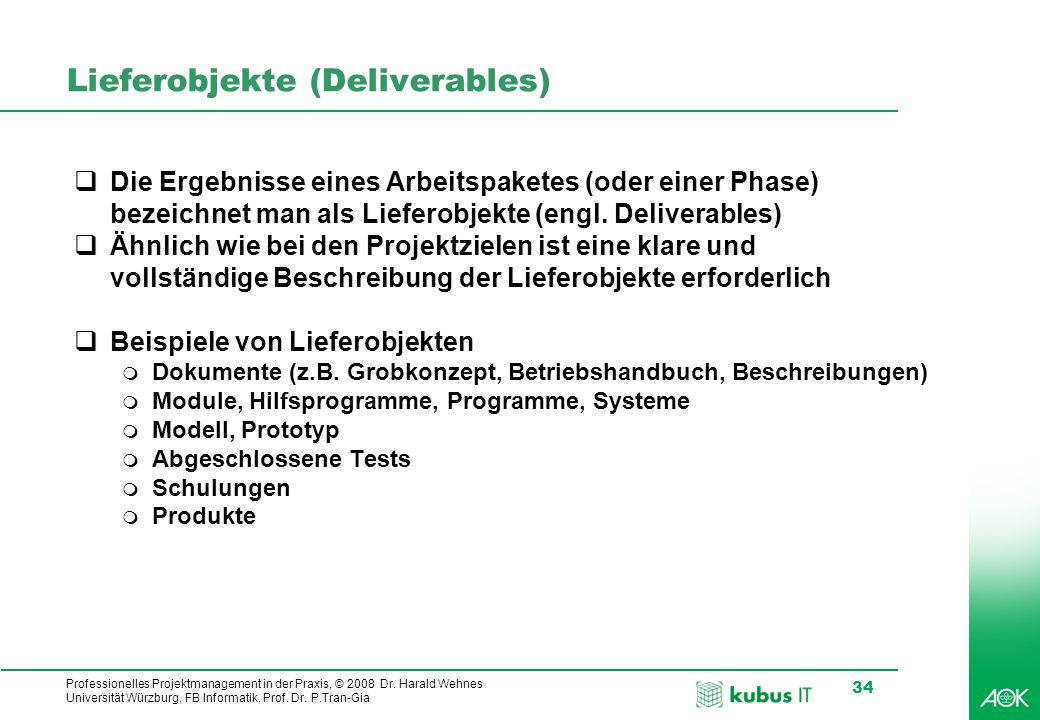 Lieferobjekte (Deliverables)