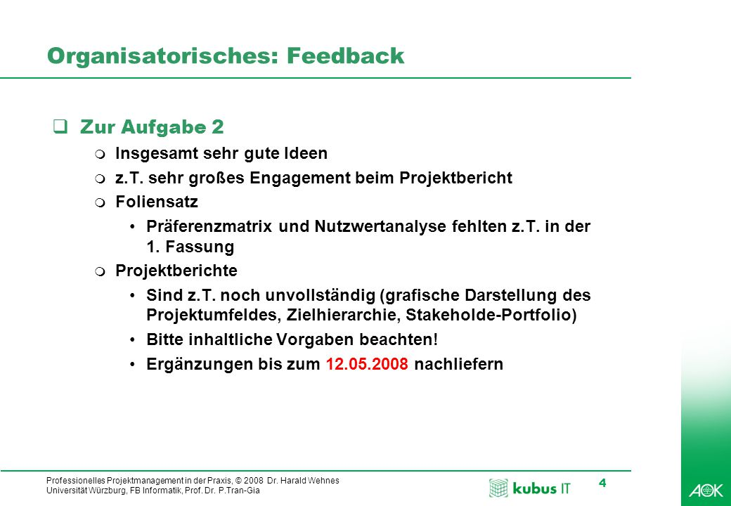 Organisatorisches: Feedback