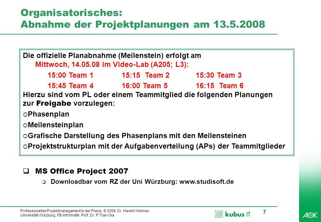 Organisatorisches: Abnahme der Projektplanungen am 13.5.2008
