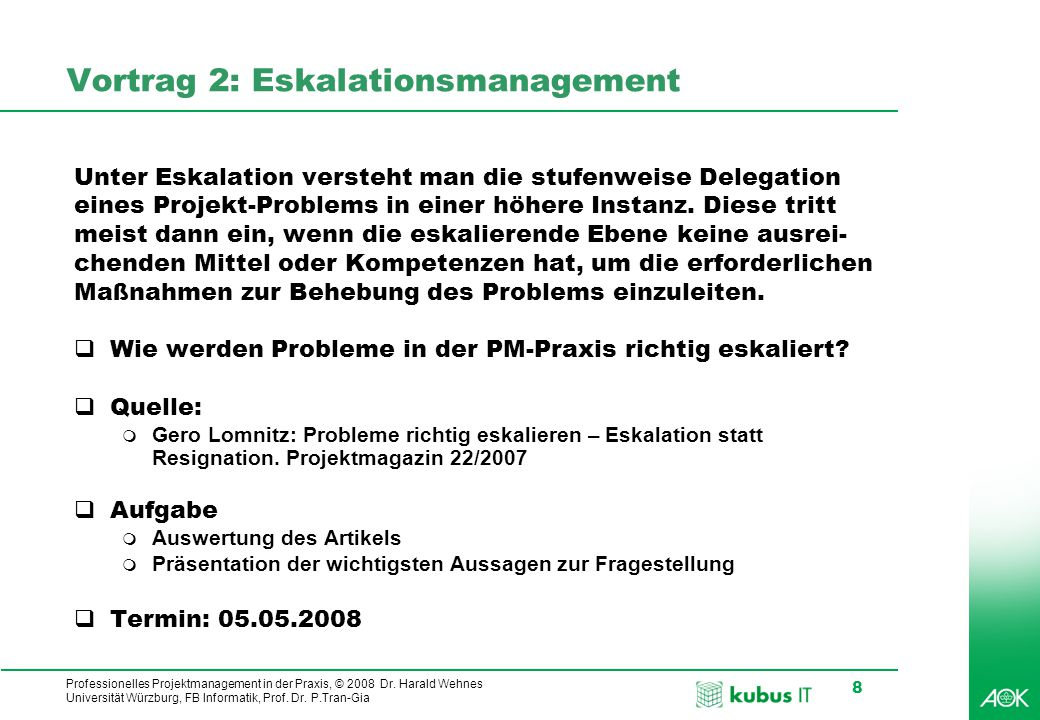 Vortrag 2: Eskalationsmanagement