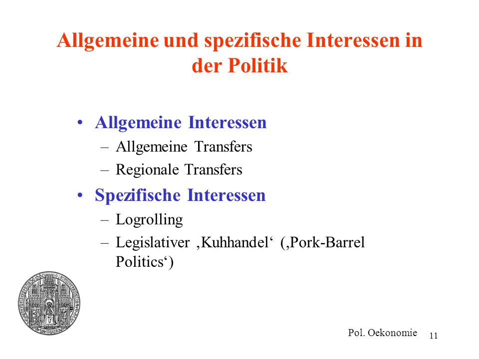 Allgemeine und spezifische Interessen in der Politik