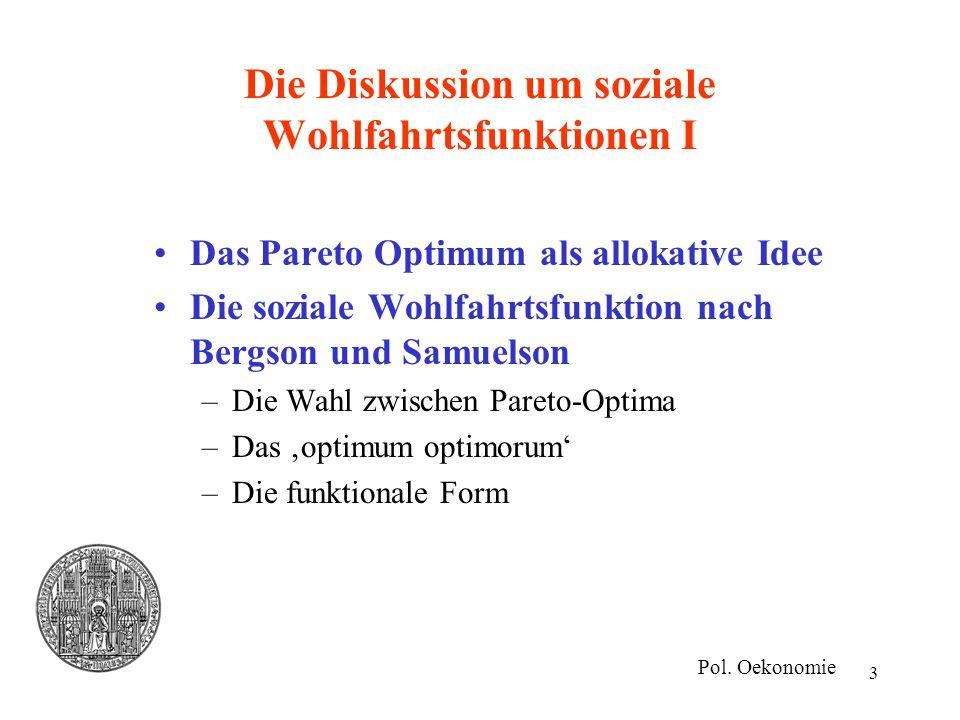 Die Diskussion um soziale Wohlfahrtsfunktionen I