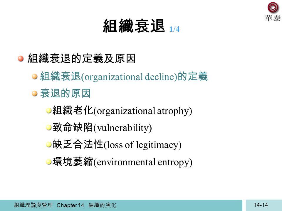 組織衰退 1/4 組織衰退的定義及原因 組織衰退(organizational decline)的定義 衰退的原因