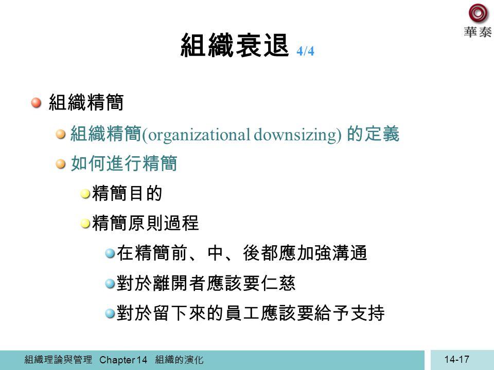 組織衰退 4/4 組織精簡 組織精簡(organizational downsizing) 的定義 如何進行精簡 精簡目的 精簡原則過程