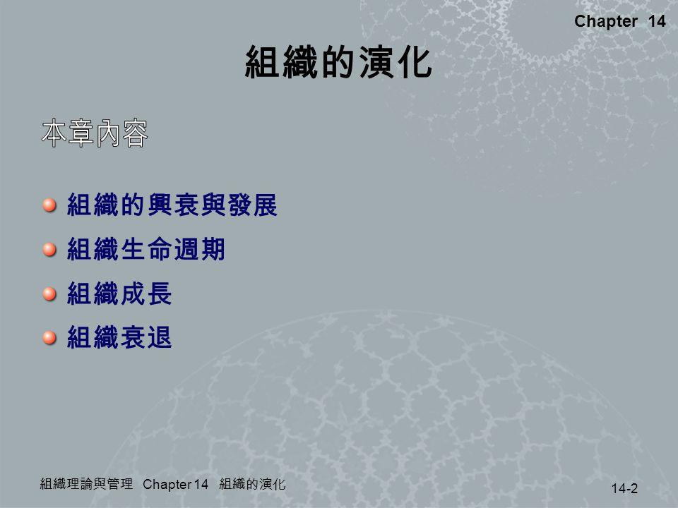 組織的演化 本章內容 組織的興衰與發展 組織生命週期 組織成長 組織衰退 Chapter 14