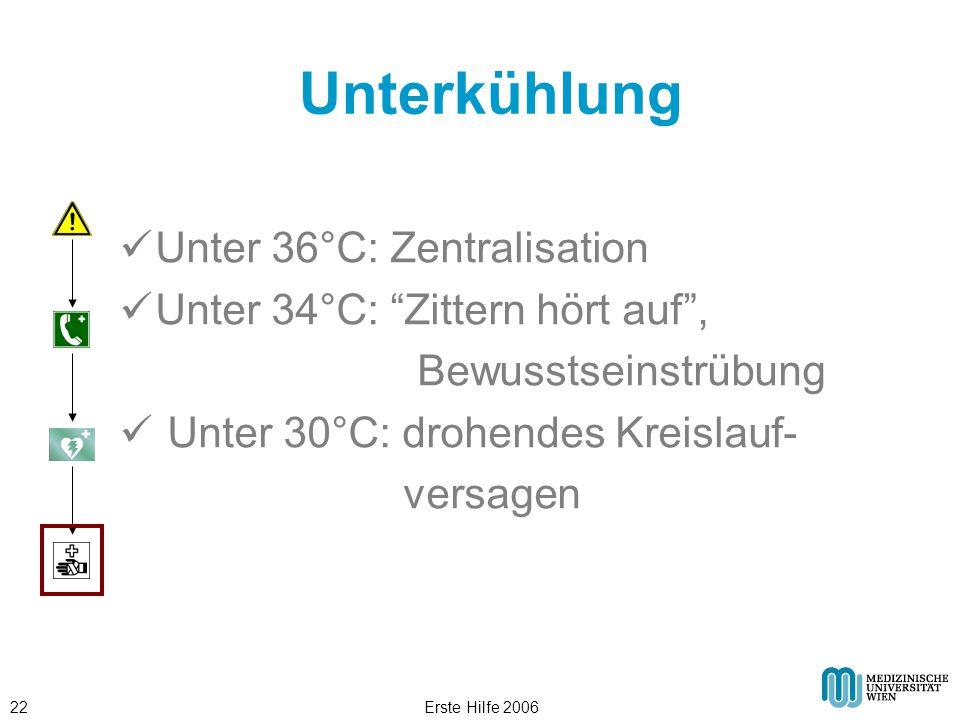 Unterkühlung Unter 36°C: Zentralisation