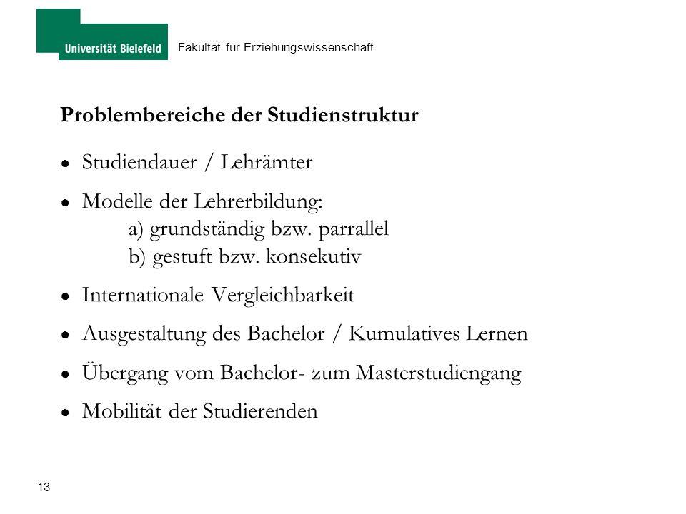 Problembereiche der Studienstruktur