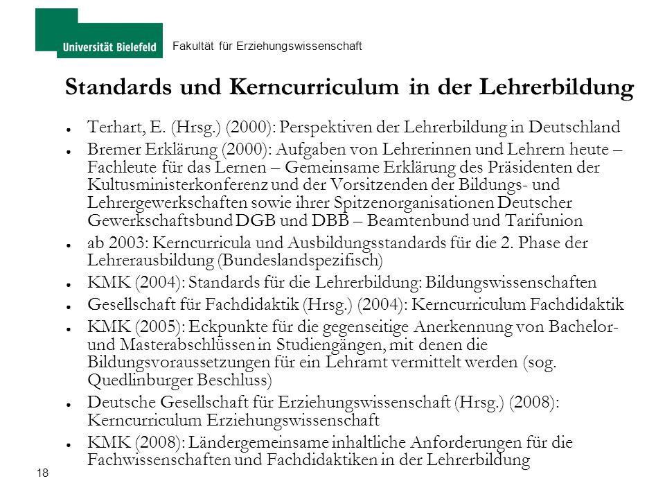 Standards und Kerncurriculum in der Lehrerbildung