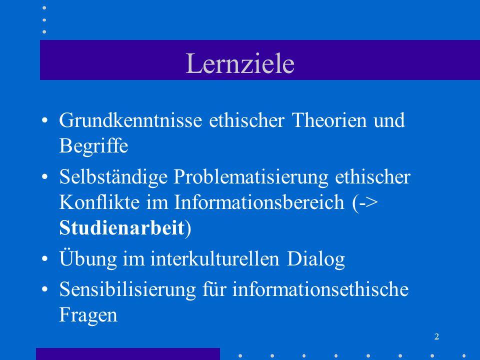 Lernziele Grundkenntnisse ethischer Theorien und Begriffe