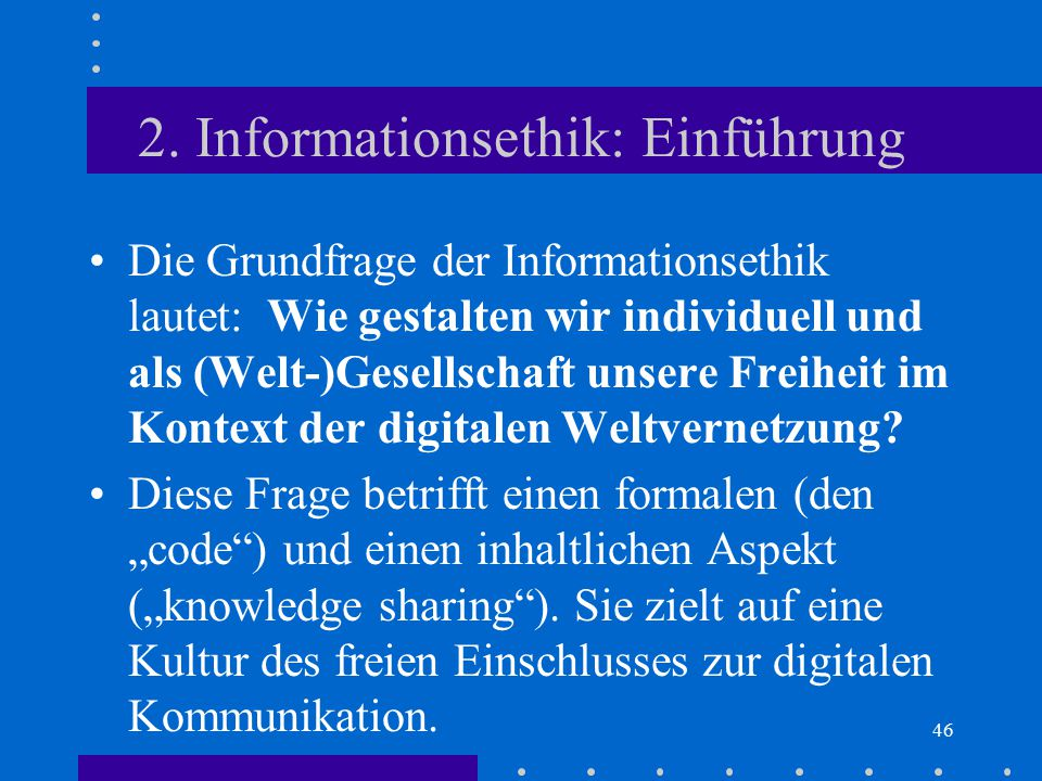 2. Informationsethik: Einführung