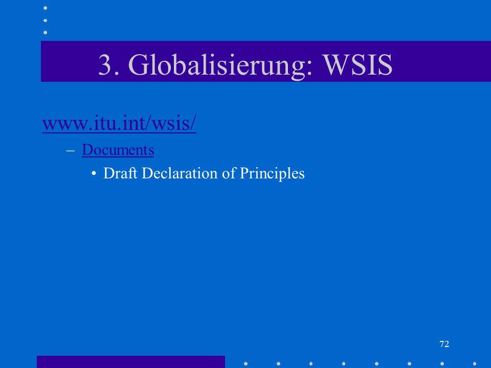 3. Globalisierung: WSIS www.itu.int/wsis/ Documents