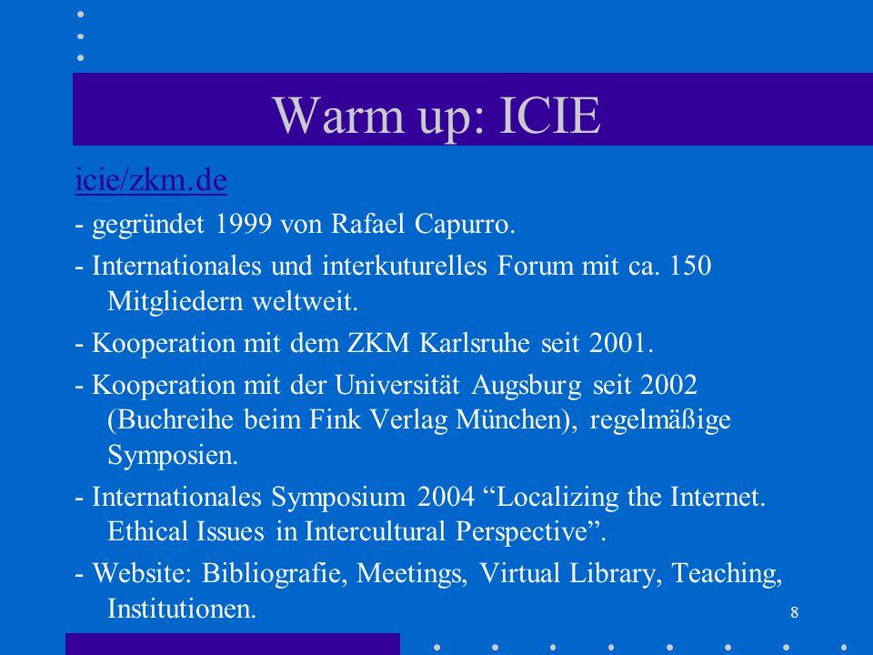 Warm up: ICIE icie/zkm.de - gegründet 1999 von Rafael Capurro.