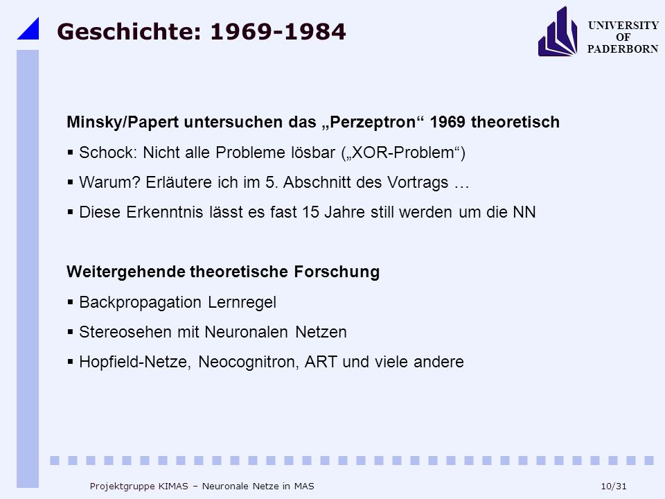 """Geschichte: 1969-1984 Minsky/Papert untersuchen das """"Perzeptron 1969 theoretisch. Schock: Nicht alle Probleme lösbar (""""XOR-Problem )"""