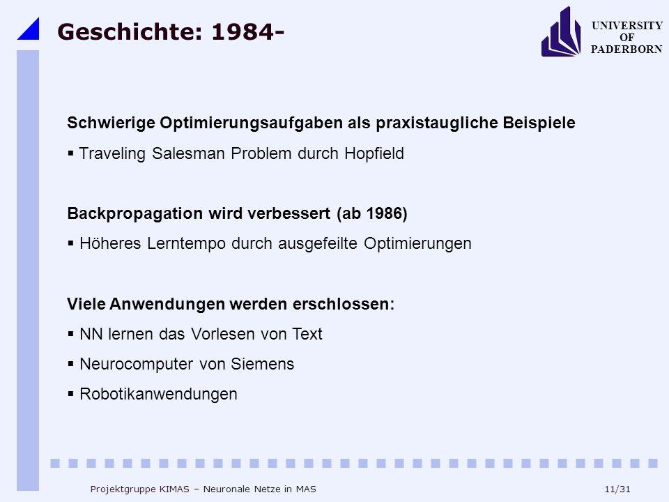 Geschichte: 1984- Schwierige Optimierungsaufgaben als praxistaugliche Beispiele. Traveling Salesman Problem durch Hopfield.