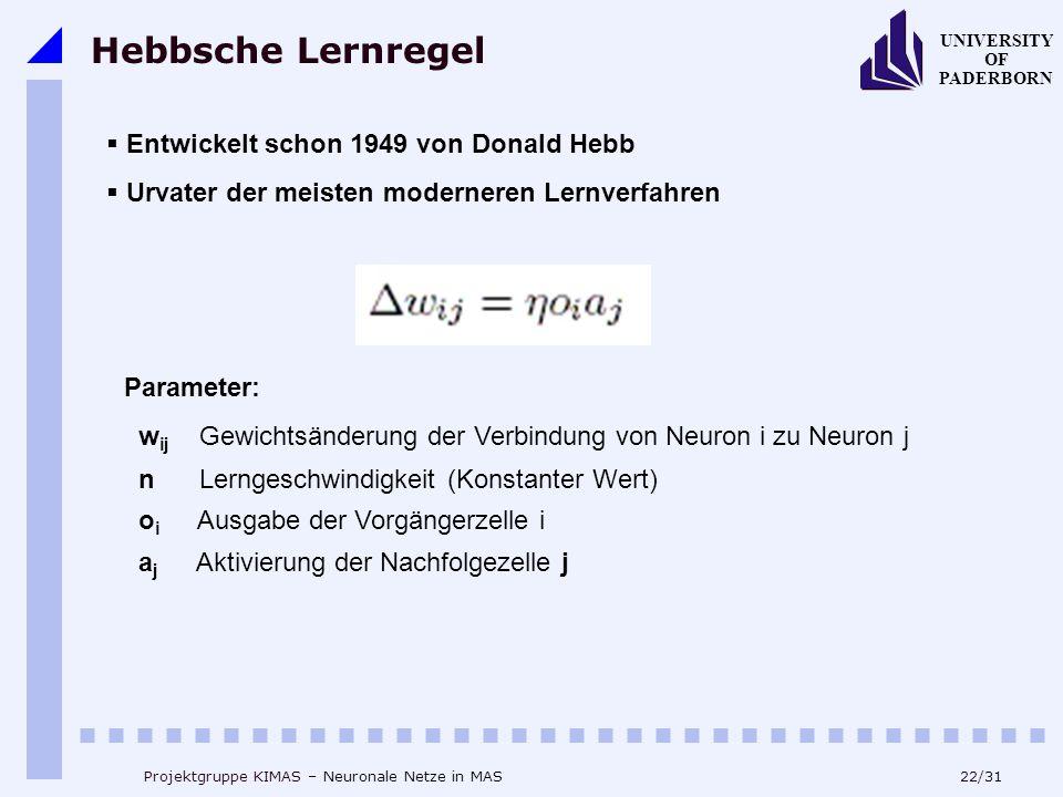 Hebbsche Lernregel Entwickelt schon 1949 von Donald Hebb