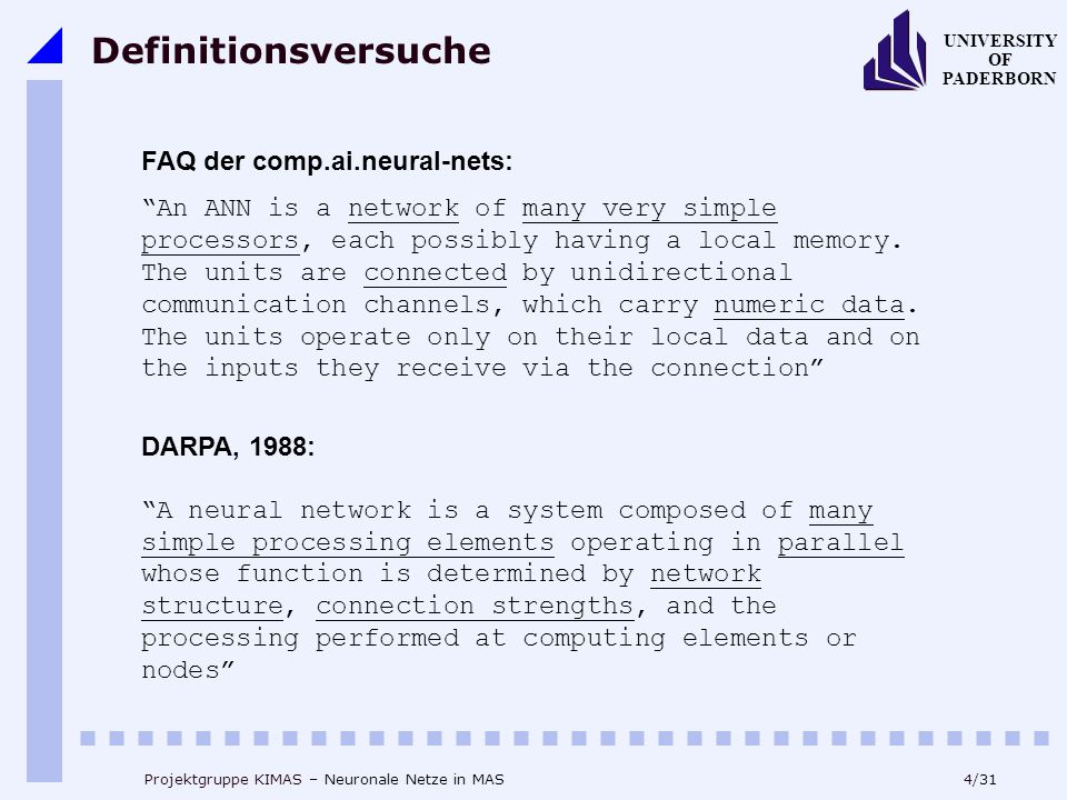 Definitionsversuche FAQ der comp.ai.neural-nets:
