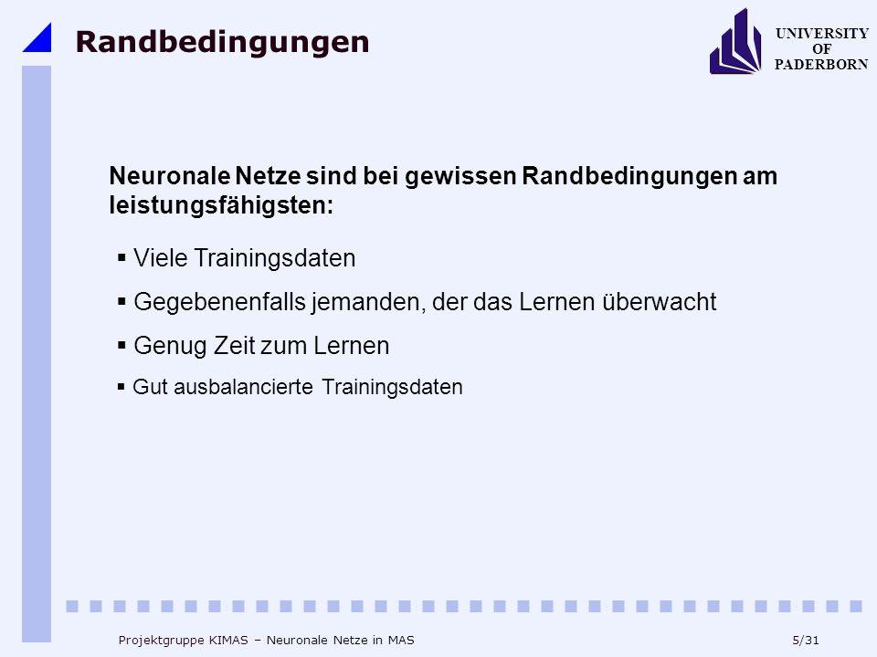 Randbedingungen Neuronale Netze sind bei gewissen Randbedingungen am leistungsfähigsten: Viele Trainingsdaten.