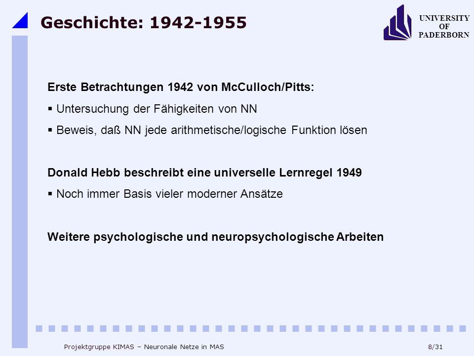 Geschichte: 1942-1955 Erste Betrachtungen 1942 von McCulloch/Pitts: