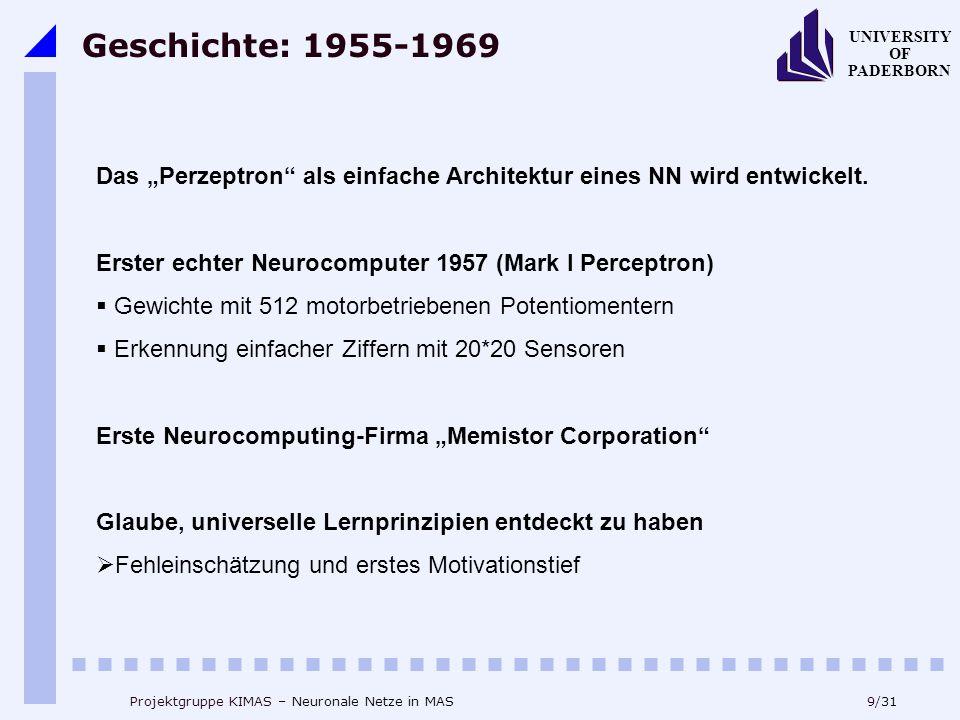 """Geschichte: 1955-1969 Das """"Perzeptron als einfache Architektur eines NN wird entwickelt. Erster echter Neurocomputer 1957 (Mark I Perceptron)"""