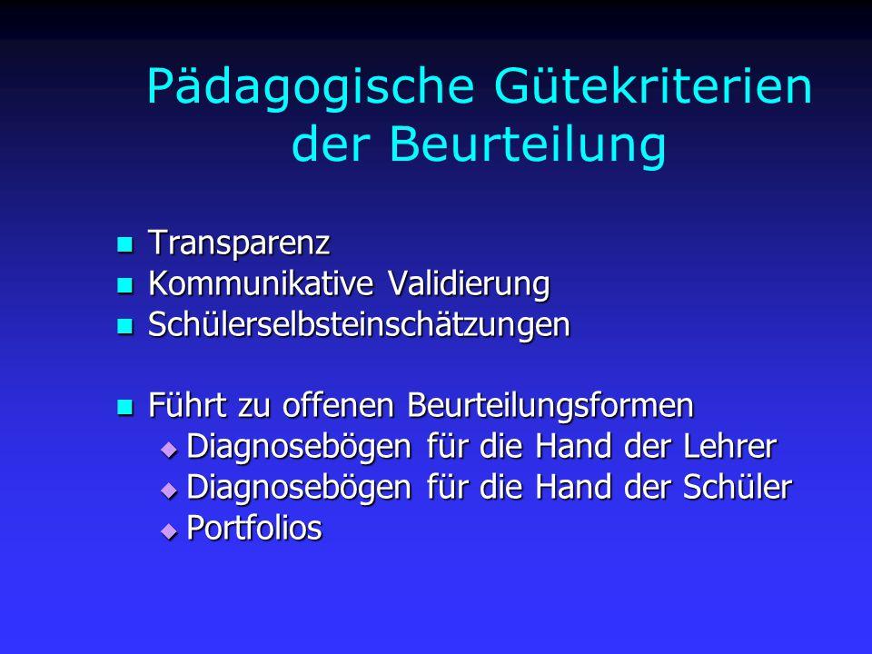 Pädagogische Gütekriterien der Beurteilung