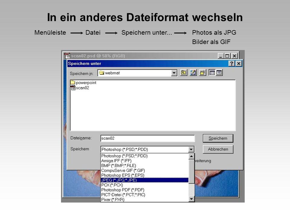 In ein anderes Dateiformat wechseln