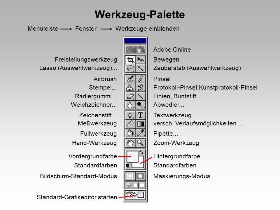 Werkzeug-Palette Menüleiste Fenster Werkzeuge einblenden Adobe Online