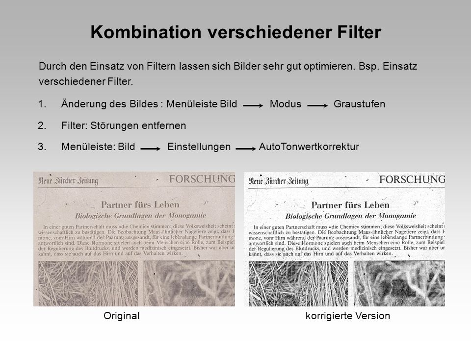 Kombination verschiedener Filter