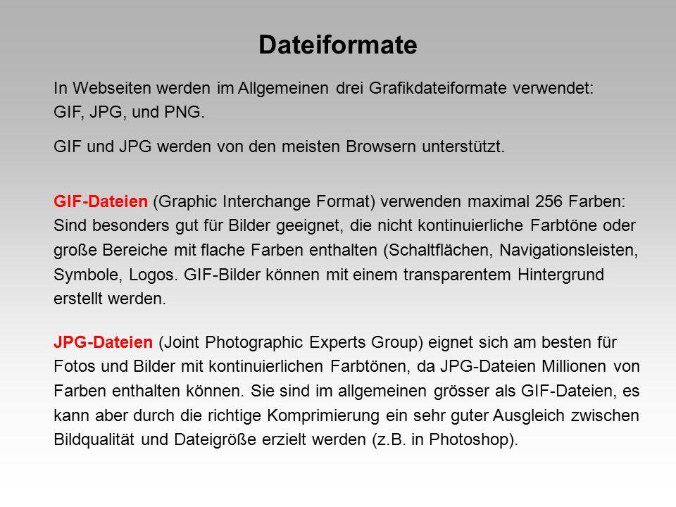 Dateiformate In Webseiten werden im Allgemeinen drei Grafikdateiformate verwendet: GIF, JPG, und PNG.