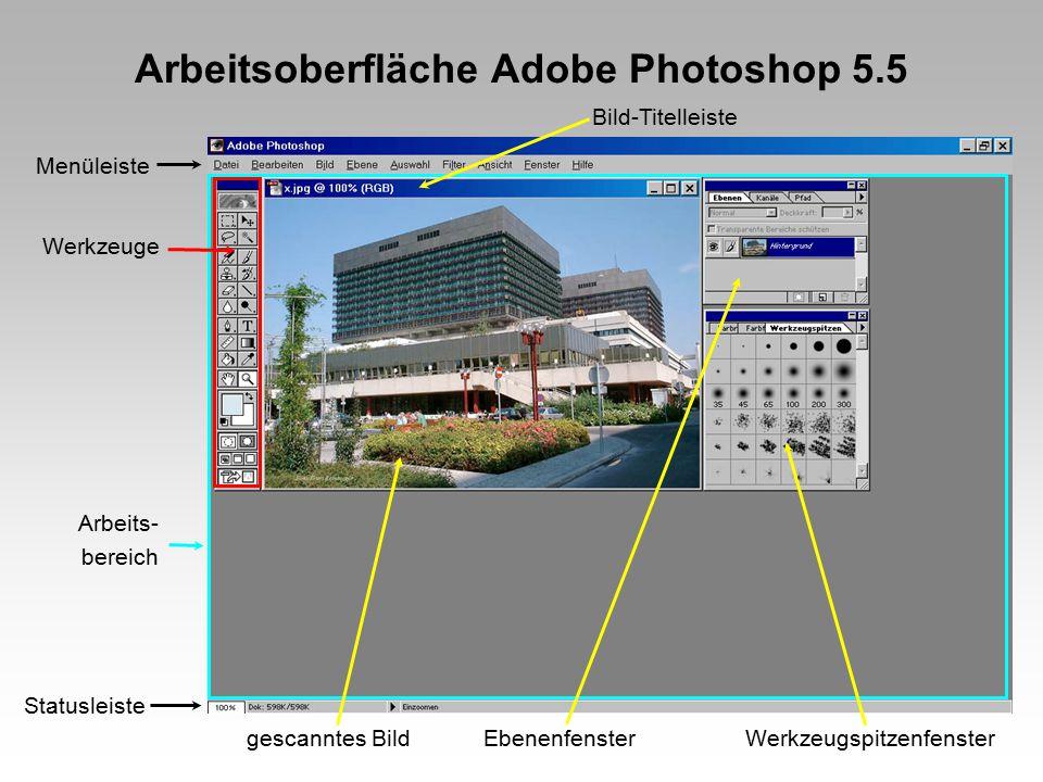 Arbeitsoberfläche Adobe Photoshop 5.5