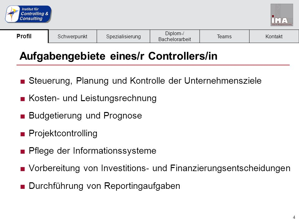 Aufgabengebiete eines/r Controllers/in