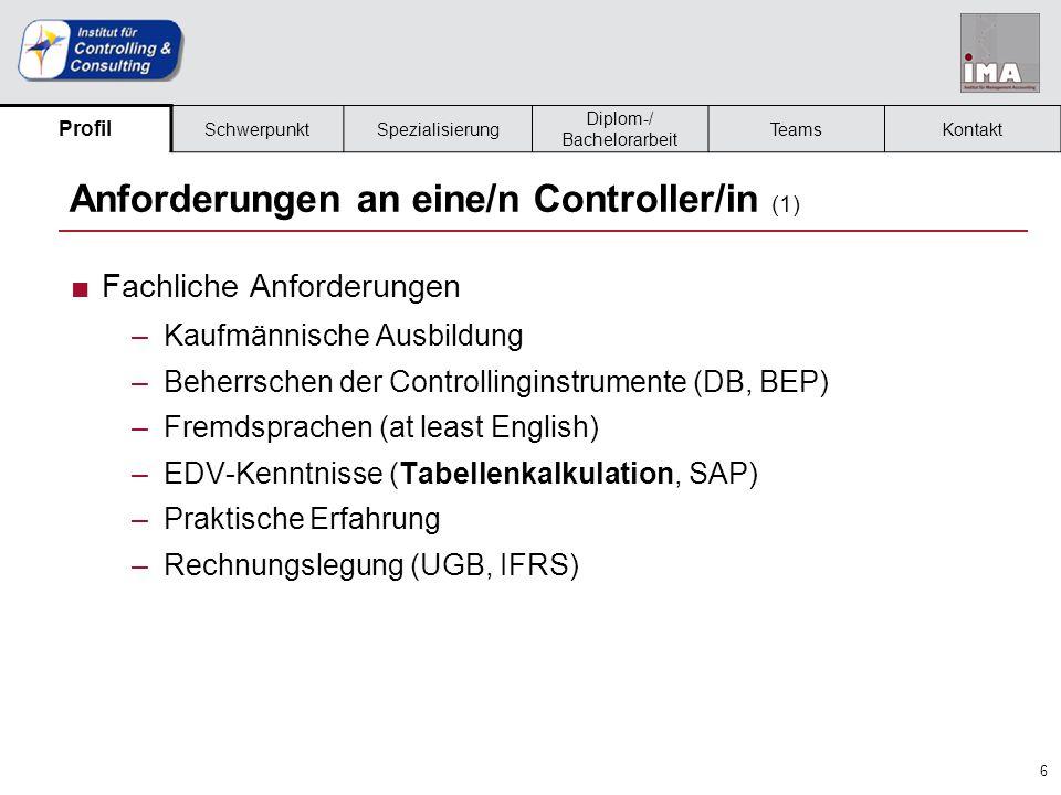 Anforderungen an eine/n Controller/in (1)