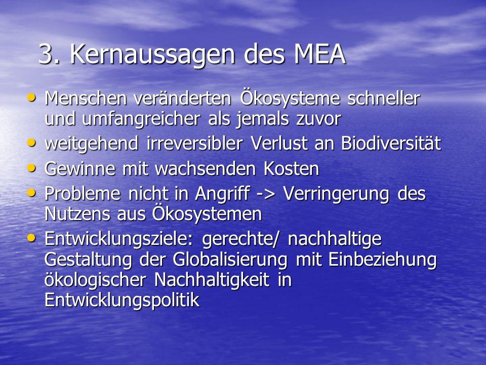 3. Kernaussagen des MEA Menschen veränderten Ökosysteme schneller und umfangreicher als jemals zuvor.