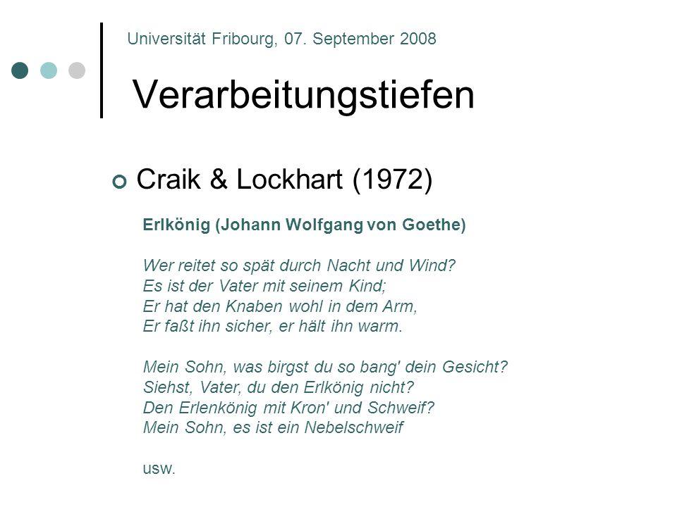 Verarbeitungstiefen Craik & Lockhart (1972)