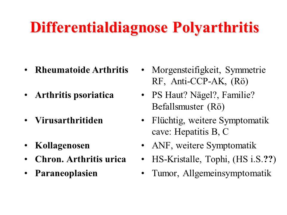 Differentialdiagnose Polyarthritis