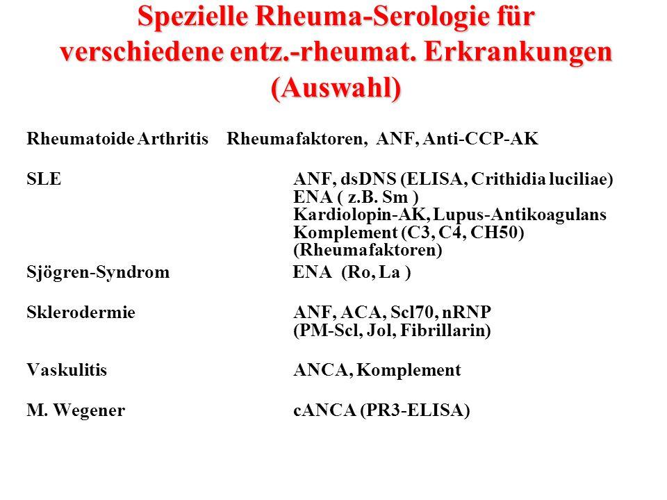 Spezielle Rheuma-Serologie für verschiedene entz. -rheumat