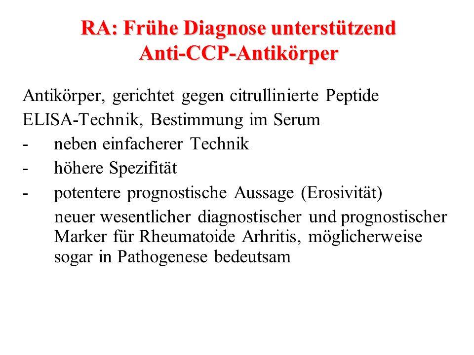 RA: Frühe Diagnose unterstützend Anti-CCP-Antikörper