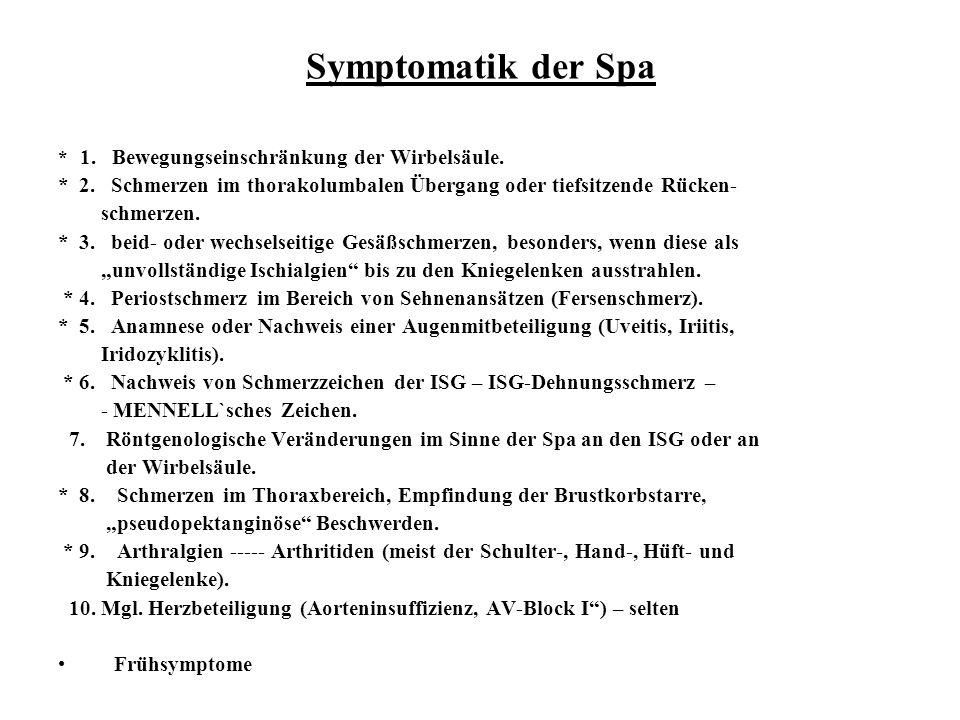 Symptomatik der Spa * 1. Bewegungseinschränkung der Wirbelsäule. * 2. Schmerzen im thorakolumbalen Übergang oder tiefsitzende Rücken-