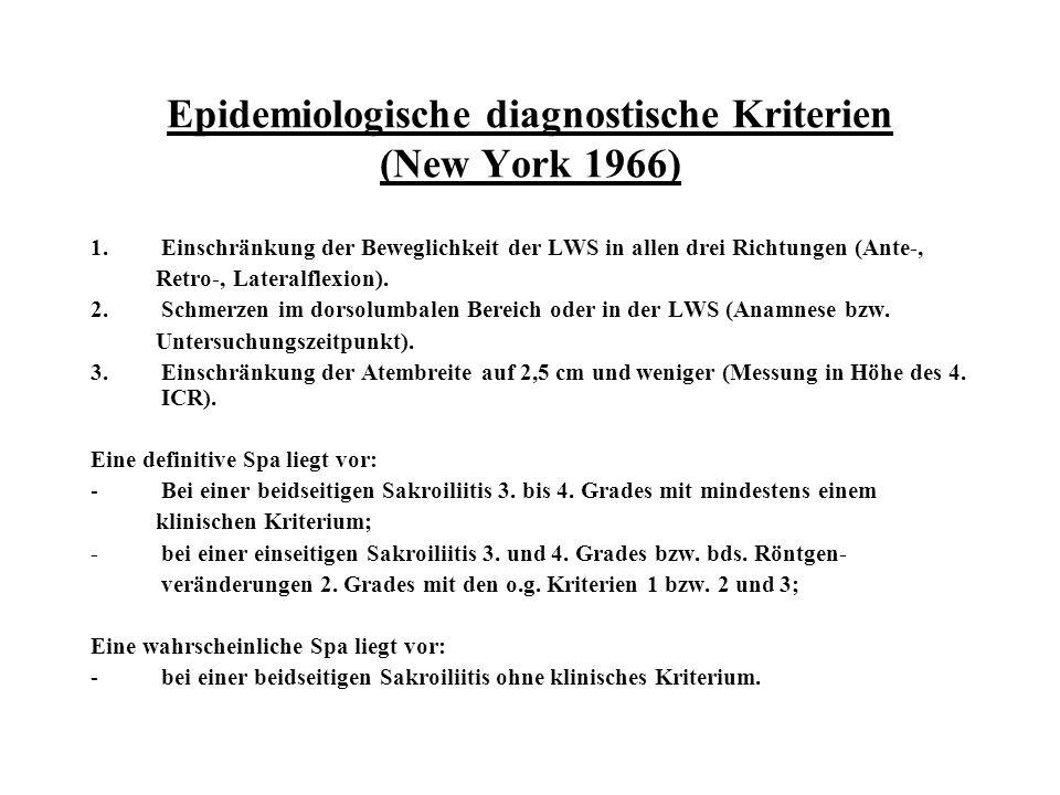 Epidemiologische diagnostische Kriterien (New York 1966)