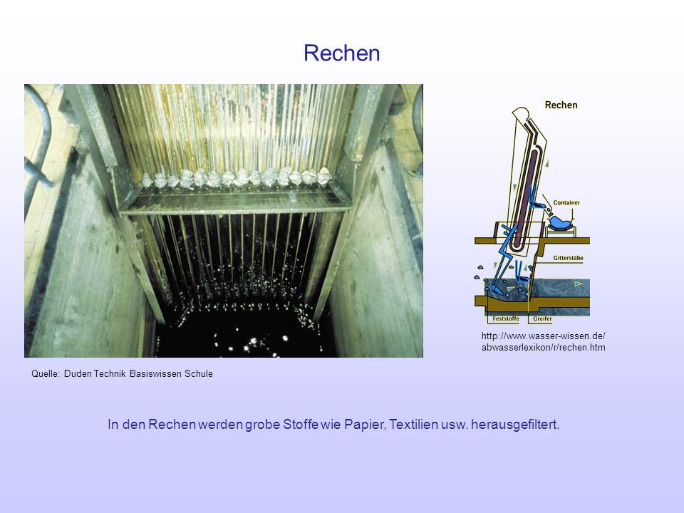 Rechen http://www.wasser-wissen.de/ abwasserlexikon/r/rechen.htm. Quelle: Duden Technik Basiswissen Schule.