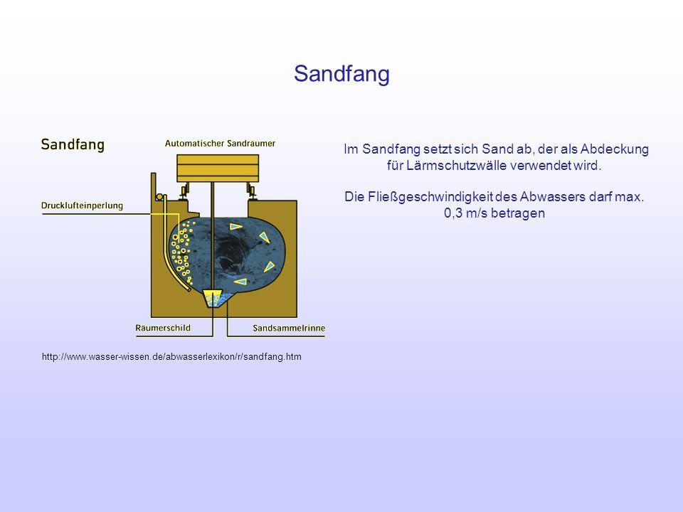 Die Fließgeschwindigkeit des Abwassers darf max. 0,3 m/s betragen