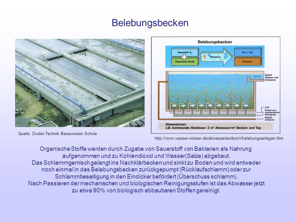 Belebungsbecken Quelle: Duden Technik Basiswissen Schule. http://www.wasser-wissen.de/abwasserlexikon/r/belebungsanlagen.htm.