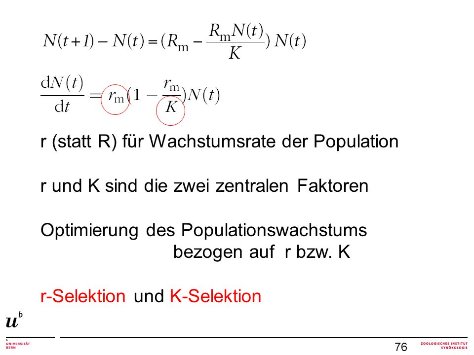 r (statt R) für Wachstumsrate der Population
