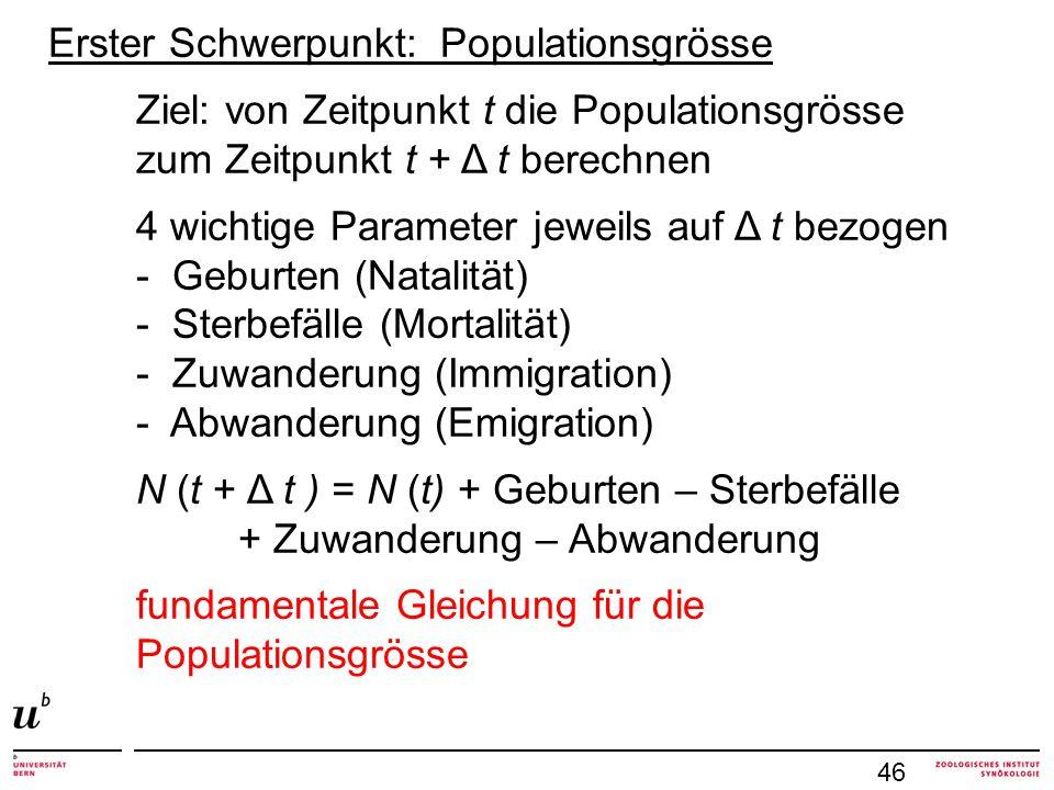 Erster Schwerpunkt: Populationsgrösse Ziel: von Zeitpunkt t die Populationsgrösse zum Zeitpunkt t + Δ t berechnen 4 wichtige Parameter jeweils auf Δ t bezogen - Geburten (Natalität) - Sterbefälle (Mortalität) - Zuwanderung (Immigration) - Abwanderung (Emigration) N (t + Δ t ) = N (t) + Geburten – Sterbefälle + Zuwanderung – Abwanderung fundamentale Gleichung für die Populationsgrösse