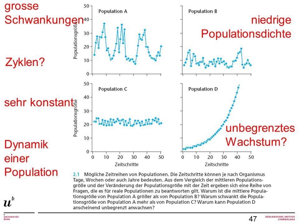 grosse Schwankungen niedrige Populationsdichte Zyklen sehr konstant