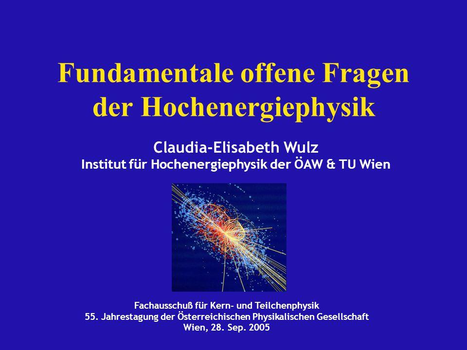 Fundamentale offene Fragen der Hochenergiephysik