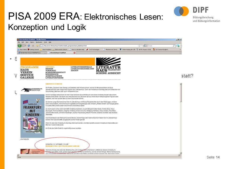 PISA 2009 ERA: Elektronisches Lesen: Konzeption und Logik