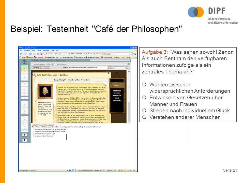 Beispiel: Testeinheit Café der Philosophen