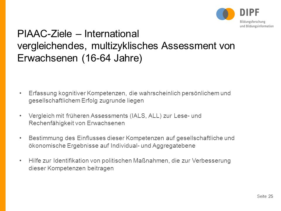 PIAAC-Ziele – International
