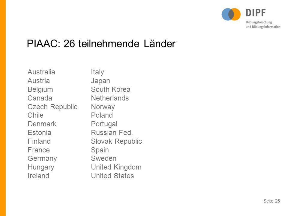 PIAAC: 26 teilnehmende Länder